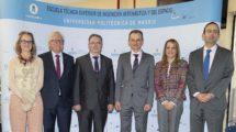 Pedro Duque con los representantes de la ESA, CDTI, UPM y ETSIAE.