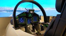Cockpit y sistema visual de uno de los simuladores actuales de Eurofighter.