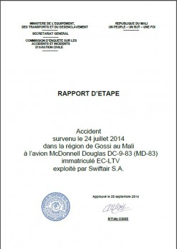 Informe preliminar del accidente de Swiftair en Mali.