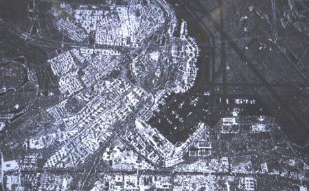 Detalle de la primera imagen procesada, en resolución media, tomada por el radar de observación del  satélite Paz, correspondiente a Madrid, con parte del aeropuerto Adolfo Suarez Madrid Barajas.
