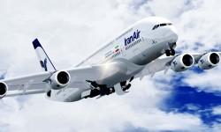 Ilustración del Airbus A380 con colores de Iran Air.