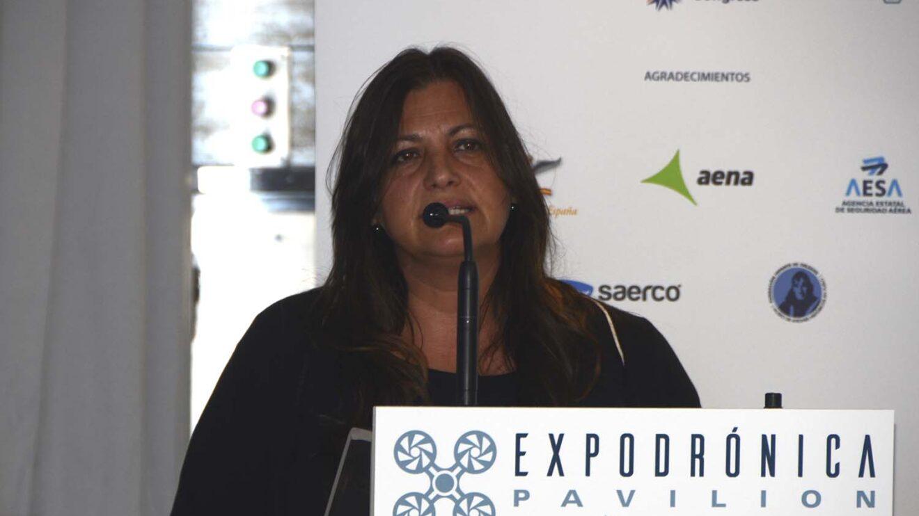 Isabel Buatas, directora de Expodronica durante la presentación en Cuatro Vientos.