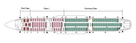 Configuración de asientos del Airbus A350 de JAL.