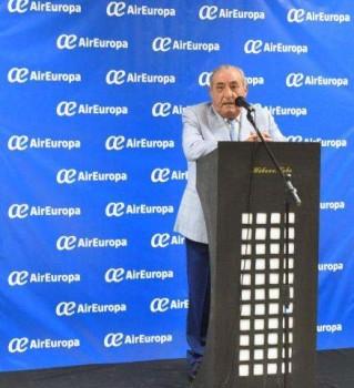 Juan José Hidalgo durante su intervención en la ceremonia a la llegada del primer vuelo con Boeing 787 de Air Europa a La Habana.