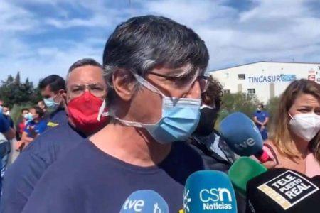 Juan Manuel Trujillo durante una de las manifestaciones en contra del cierre o traslado de la factoría de Puerto Real de Airbus.