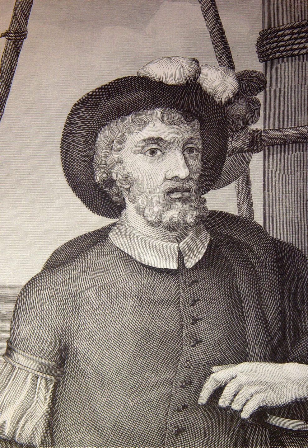 Juan Sebastian de Elcano en un grabado. En realidad no existe ninguna imagen real de este marino de Guetaria (hoy Guipuzcoa) .