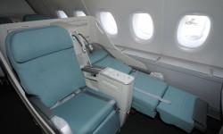 Asientos de clase ejcutiva en el Airbus A380 de Korean Air.