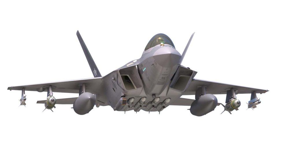 Aspecto que tendrá el KF-X armado con, entre otros, cuatro misiles Meteor bajo el fuselaje.