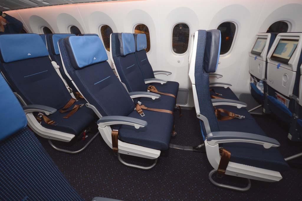 Los asientos de turista y de turista superior se diferencian por el color de la parte superior y de los cinturones de seguridad, además de por llevar en el reposacabezas el nombre de la clase.