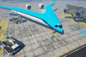 Propuesta de KLM y la universidad holandesa de Tu Delft de un avión comercial para el futuro.