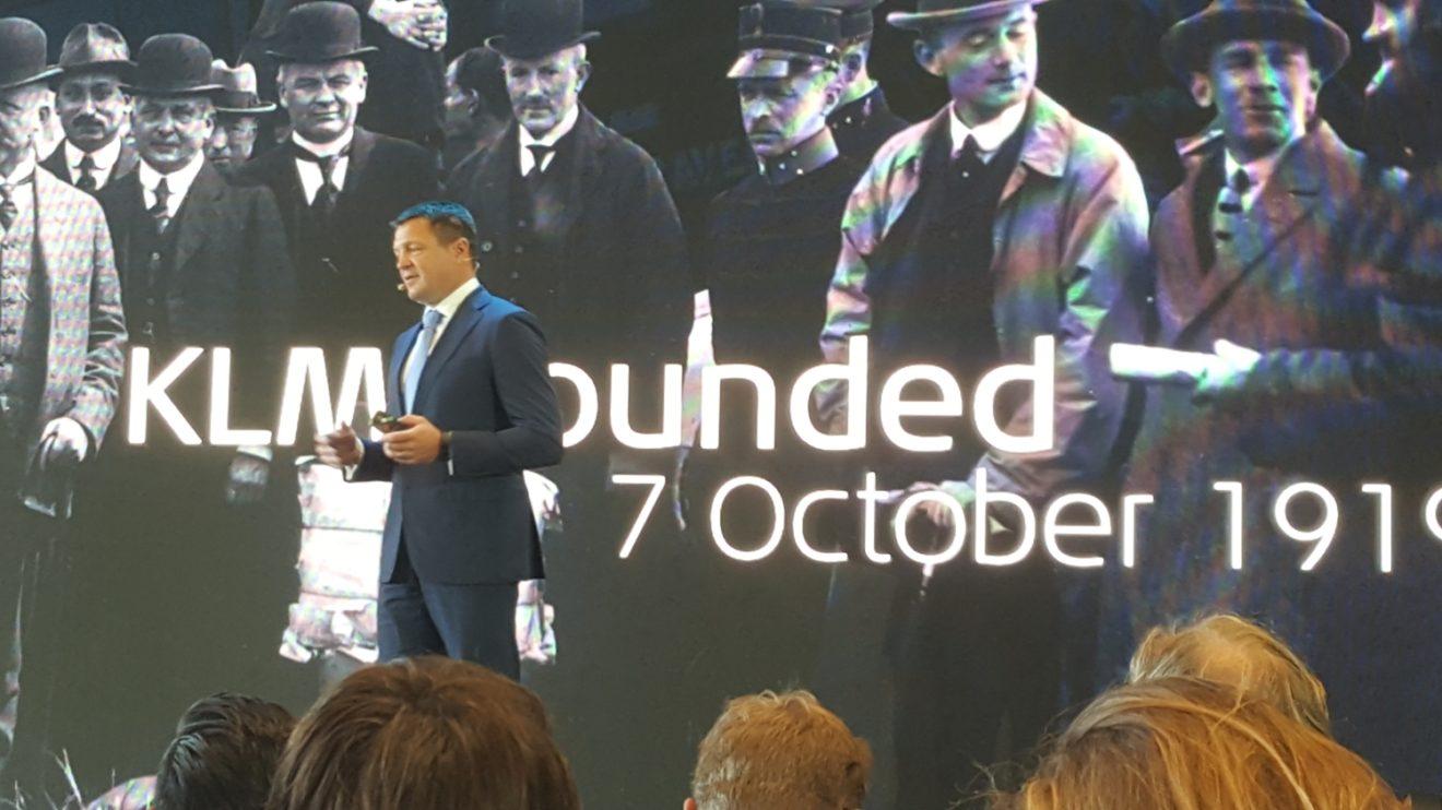 Pieter Elbers, presidente de KLM durante su intervención para presentar la celebración de los 100 años de KLM.