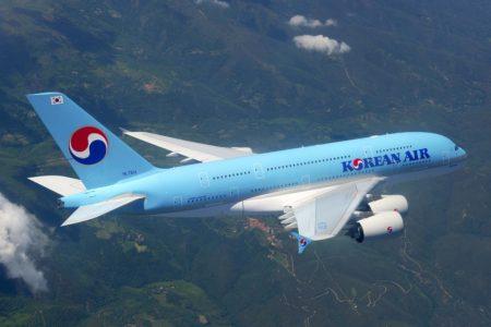El primer Airbus A380 de Korean Air durante uno de sus vuelos de preuba previos a su entrega.