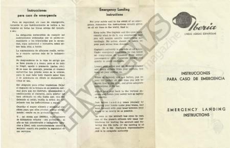 Instrucciones de seguridad del Lockheed L-1049 de Iberia.