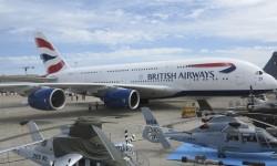 El primer Airbus A380 de British Airways estará sólo los primeros días de la feria.