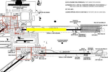 En amarillo la zona de la pista18R/36L. en la que se acometerán los trabajos de reasfaltado