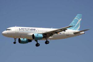 El Airbus A319 EC-NMO de Lattitude Hub aterrizando en la pista 32L del aeropuerto de Madrid-Barajas.
