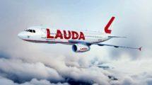 Nueva imagen corporativa de Laudamotion, similar a la usada por Lauda Air en el pasado.