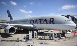 Qatar Airways ha sido uno de los mayores expositores del Salón, con cinco aviones, incluido este A380.