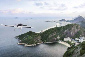 Recreación de un Lilium Jet sobrevolando Río de Janeiro.