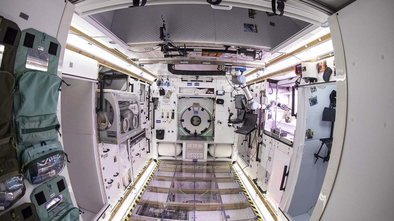 Aspecto interior del prototipo de Lockheed Martin del módulo para viajes espaciales.
