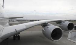 La curvatura del ala es más que evidente pese a la escasa carga de combustible en la misma