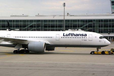 Uno de los 17 Airbus A350-900 de Lufthansa en el aeropuerto de Munich.