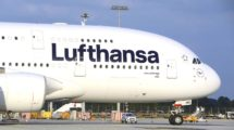 Airbus A380 de Lufthansa en el aeropuerto de Munich,