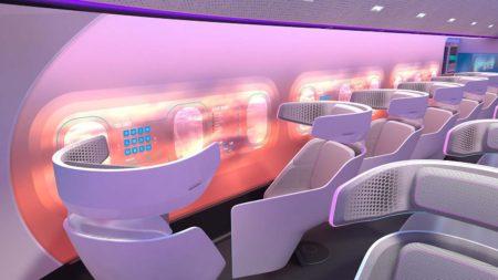 Propuesta de Airbus de cómo podría ser la cabina de pasaje de un avión como MAVERIC