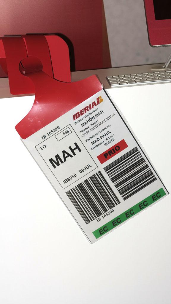 Tarjeta de equipaje facturado de Iberia