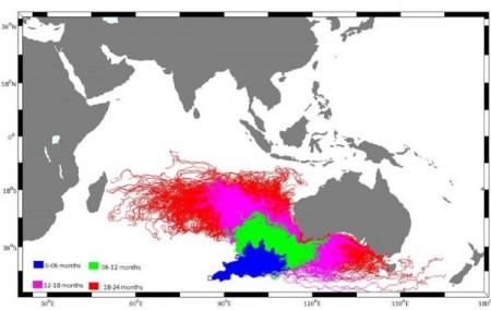 Mapa con la posible dispersión de los restos del MH370 con el tiempo.