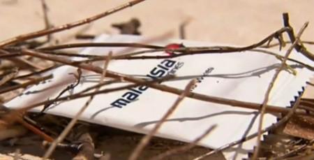 Imagen distribuida en su día de la toallita de Malaysia Airlines encontrada en una playa de Australia.