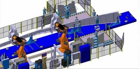 Imagen de diseño del robot de MTorres para la producción de los largueros del ala del B-777X.