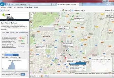 Captura de la pantalla de información del ruido en el aeropuerto de Madrid Barajas con la nueva información del viento.