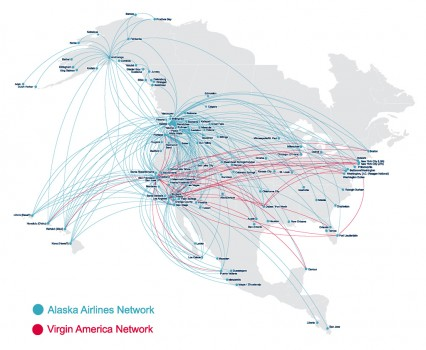 Red de rutas de Alaska Airlines y Virgin America.