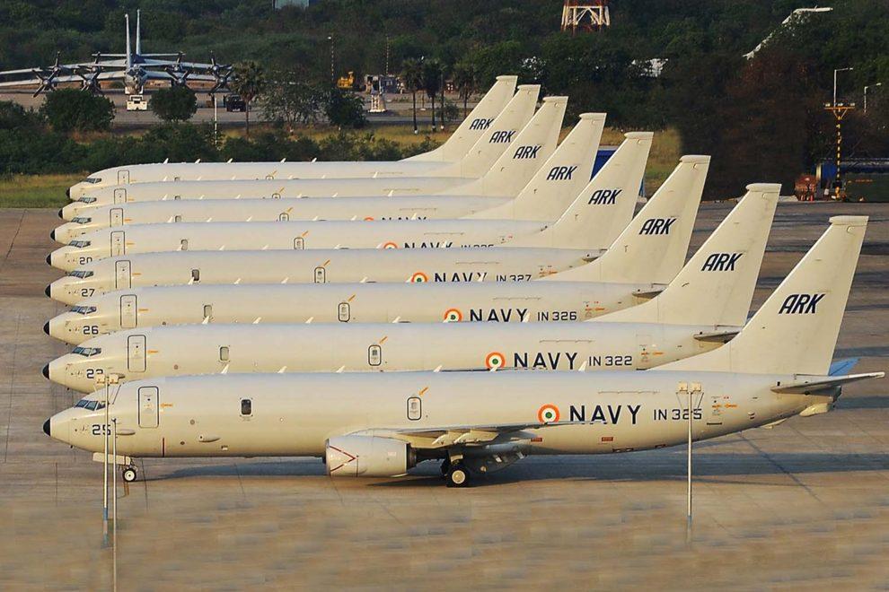 Los ocho Boeing P-8 de India juntos con motivo de la celebración de las 10.000 horas de vuelo del modelo con la Marina. Son operados por el 312A en la base aeronaval de Rajali.