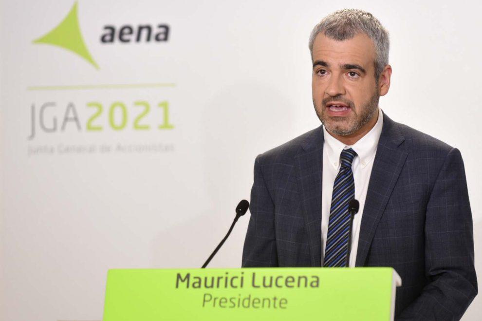 Maurici Lucena, presidente de Aena durante su intervención en la Junta de Accionistas 2021.