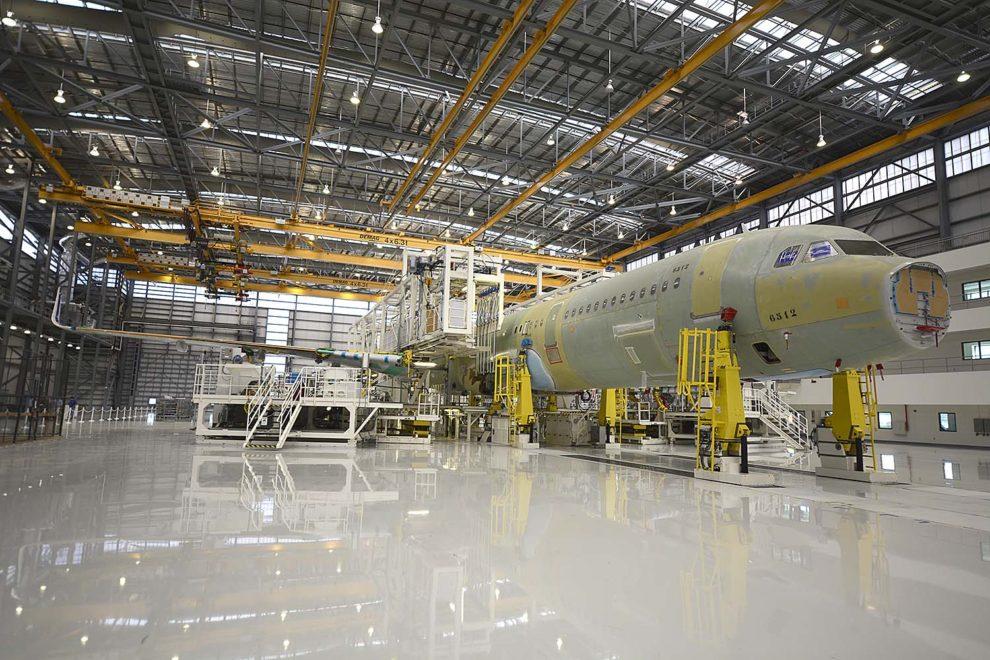 Hangar de montaje de los aviones de la familia A320 de Airbus en Mobile.