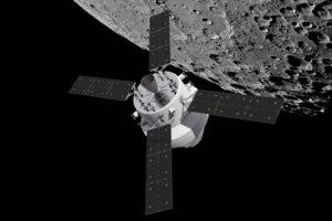 Ilustración que muestra la nave Orion con el módulo de servico, en órnita lunar.