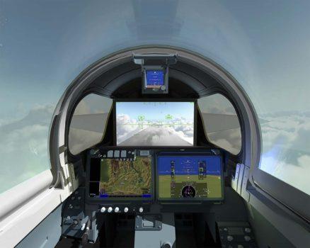 Cockpit del X-59 con la gran pantalla depresentación en lugar del habitual parabrisas.