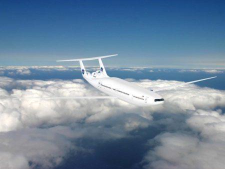 Uno de los muchos conceptos de la NASA de cómo podría ser un avión comercial en el futuro.