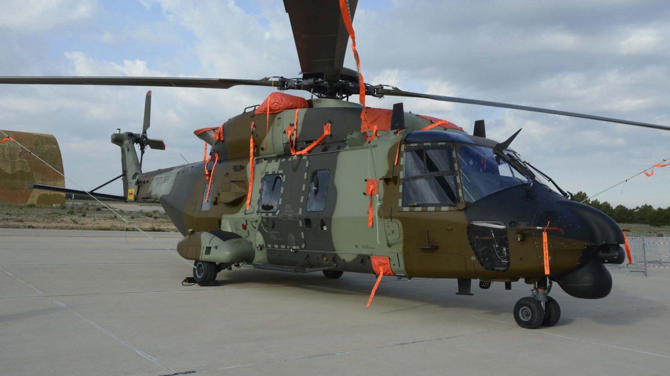 El NH90 ET-408 de FAMET estaba en revisión en las instalaciones de Airbus Helicopters en Albacete y fue mostrado en la exposición estática.