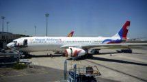 El primero de los dos A330 de Nepal Airlines en el centro de entrega de Airbus poco antes de partir hacia Nepal en su vuelo de entrega.