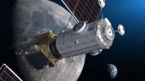 Ilustración del módulo HALO (blanco) en órbita lunar con el módulo de energía y propulsión y los paneles solares.