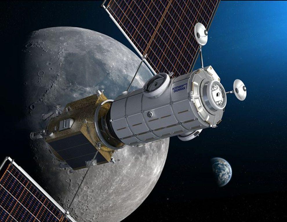 Ilustración del aspecto de módulo HALO en órbita lunar.