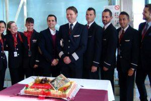 Tripulación de Norwegian en la apertura de la base de la aerolínea en Barcelona en 2014.
