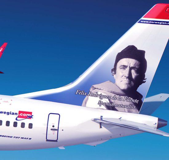 Félix Rodríguez de la Fuente será el próximo español al que Norwegian homenajeará en las colas de sus aviones.