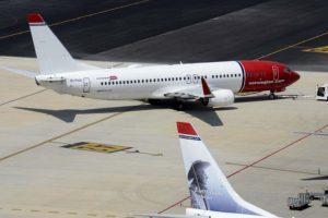 Aviones Boeing 737-800 de Norwegian en el aeropuerto de Palma de Mallorca.