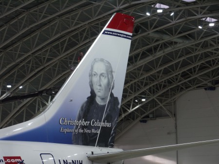 Colon en la cola de un Boeing 737 de Norwegian.