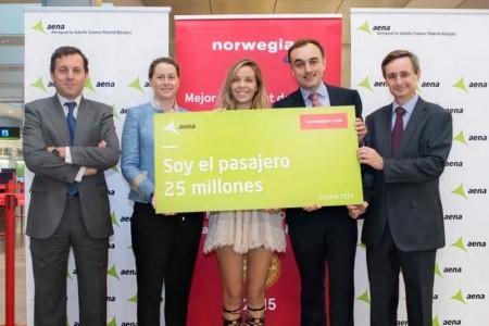 Entre los hotos de Norwegian en 2016 estuvo su pasajero 25 millones en España desde el inicio de sus operaciones.