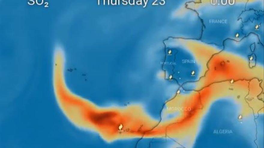 Evolución prevista del desplazamiento de la nube de cenizas del volcán de La Palma.